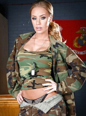 Hot babe with big tits strips off her uniform to expose her cunt